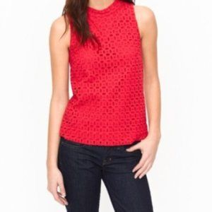 J.Crew Ultra Eyelet Shell Red size 00 NWT